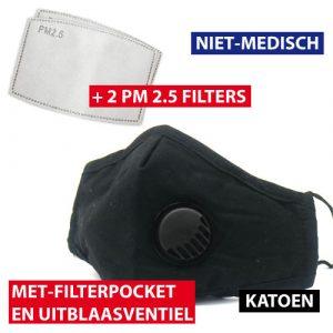 mondmasker zwart ventiel + 2 filters