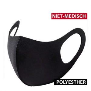 Mondmasker zwart polyesther per stuk
